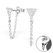 Sterling Silver 925 Hammered Triangle & Chain Ear Jacket / Double Earrings