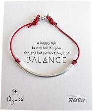Dogeared Balance Sterling Silver Tube Red Leather Carded Bracelet