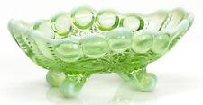 Green Opalescent Glass Eyewinker Pattern Nut Dish - Mosser