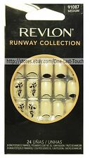 REVLON 24 Glue-On Nails RUNWAY COLLECTION Medium Length NUDE+SHIMMER #91087