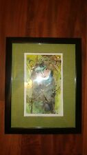 """Cuban Artist Charo Original Signed Oil-Mix  Painting CHAMART """" LADY LACE SCARF"""""""