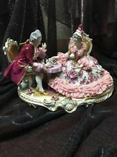 Antique VOLKSTEDT German Dresden Porcelain Couple Playing Chess Large Figurine