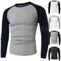 Mens Casual Slim Fit Crew Neck Shirt Long Sleeve Muscle Baseball T-shirt Tee Top