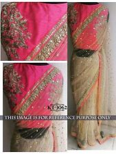 Bollywood Designer Party Wear Beige & Pink Color Heavy Net Fabric Saree