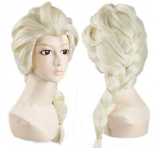 Wig Elsa Frozen Blonde Girls Children's Fancy Dress Costume plait (free stickers