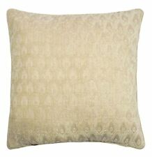 """2 X PEACOCK STYLE NATURAL BEIGE SOFT CHENILLE PIPED CUSHION COVER 22"""" - 55CM"""