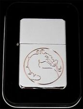 MORTAL KOMBAT Dragon Engraved Chrome Great Metal Cigarette Lighter Gift LEN-0017