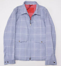 NWT $2395 ISAIA Sky Blue Glen Check Cotton-Wool-Cashmere Bomber Jacket S (Eu 46)