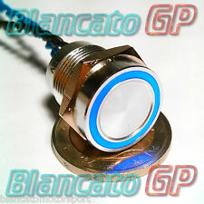 PULSANTE PIEZOELETTRICO 16mm LED BLU 12V auto moto piezo switch interruttore