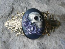 SKULL AND ROSES HAND PAINTED CAMEO ANTIQUED BRONZE FILIGREE BARRETTE - PURPLE