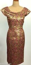 VINTAGE Mid century Gold METALLIC brocade pink paisley EVENiNG dress 12 14