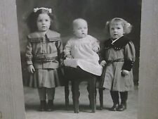 Antique Cabinet Photo-Darling Girls,Fuzzy Hair,Fashion-All ID'd-Montreal,Canada