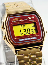 Casio A159WGEA-5 Digital Gold Watch Stainless Steel Red Gold Face Classic New