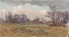 LAURENCE GEORGE BOMFORD Painting c1895 IMPRESSIONIST VILLAGE CHURCH IN LANDSCAPE