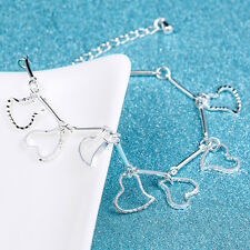 Fashion Women Lady 925 Sterling Silver Charm Love Heart Beads Bracelet Bangle BB