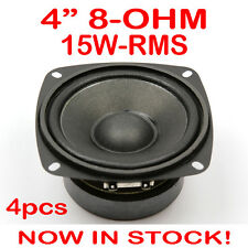 "4x 4"" 15WRMS PA DJ Speaker Subwoofer Woofer Sub Driver 4 Inch 8 Ohms Quality"
