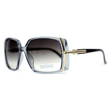 Classic Square Frame Sunglasses with Gold Lined Accent - Grey Blue/Black