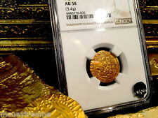 "SPAIN 1 ESCUDO 1516 - 1556 ""SQUARE D TO LEFT"" GOLD COB DOUBLOON NGC 58 COIN!"