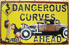Dangerous Curves Ahead Busty Pinup TIN SIGN vtg metal hotrod garage bar decor