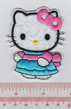 SANRIO CUTE HELLO KITTY BLUE DRESS WITH PINK BOW Embroidered Iron/Sew On Patch