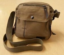 Harwish Multifunctional Men's Unisex Cross Body Small Messenger Bag Canvas Tan