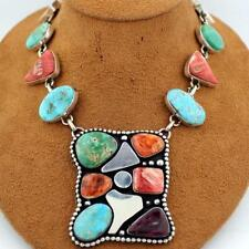 Navajo Sterling Silver Multi-Stone Turquoise Squash Blossom Necklace
