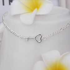 925 Sterling Silver Layered Plated HEART KEY CRYSTAL FIGARO ANKLET OR BRACELET
