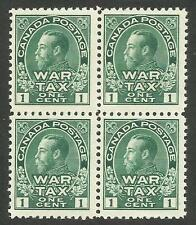 Canada MR1, 1c green Admiral war tax block of 4.  F-VF,  NH