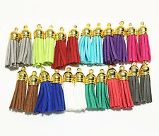 12 pairs assorted Suede tassel with gold plated cap, bulk tassel