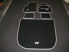 Audi TT Mk1 (1999-2006) Car Mats + Boot Mat in Black with Silver trim + TT Logos