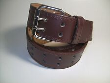 "Men Brown leather belt Two Hold with Silver Buckle 56"" #9041"