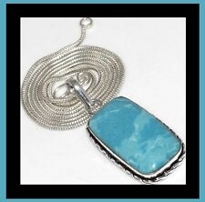 NEW - STUNNING LARIMAR LARGE PENDANT WITH SILVER PLATED CHAIN NECKLACE