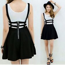 New Women Mini Skater Suspender Skirt Straps Hollow Retro High Waist Dress