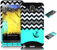 For Samsung Galaxy Note 3 Hybrid Chevron & Anchor Case + Teal Silicone Cover
