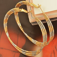 Likable 9K Gold Filled White-Yellow Tone Womens Hoop Earrings Pierced Earings