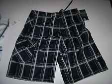 New HURLEY green black white blue plaid swimsuit swim trunks board shorts