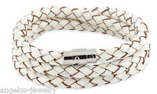 "Alraune, Leather bracelet ""Riva"", white, 58 cm, Stainless steel/Magnetic clasp"