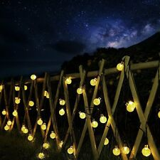 Solar Outdoor String Lights -Ascher 30 LED Fairy Light Warm White Crystal Ball