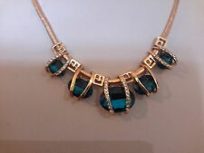 Brand new gold necklace with large sapphire blue  stones and gift box