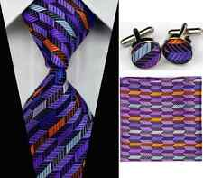 Geometric Silk Tie Set With Handkerchief & Cufflinks