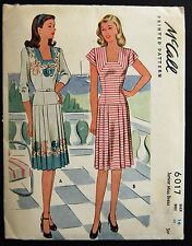 Vintage Original McCall 40's Afternoon Dress Pattern No. 6017