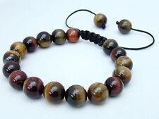 Men's Shambhala bracelet all 10mm Natural Multicolor Tiger Eye Gems Stone Beads
