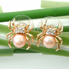 Navachi Spider Tarantulas Pink Pearl 18K GP Crystal Ear Stud Earrings BH2563