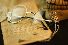 Animation lolita Eyeglasses Round Eyewear Retro Glasses Vintage Frames Silver