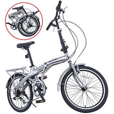 "Foldable 6 Speed 20"" Folding Bike Silver Bicycle Storage Shimano School Sports"