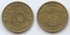 £7070 - Germany Third Reich 10 Reichspfennig 1938 D Munich KM#92 Swastika