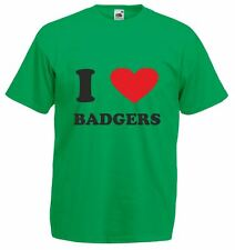 I Love (heart) badgers, Mens Printed T-Shirt
