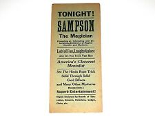 Vintage Antique Circus Poster Magic Handbill Sampson The Magician