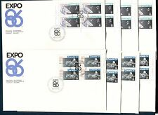 VANCOUVER WORLD EXPO SPACE TRAINS CANADA 1986 Sc 1078,79,1092,93. 16 PL BL FDC