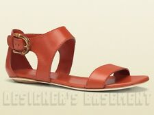 GUCCI orange 37.5 Leather NADEGE bold BAMBOO buckle flat sandals NIB Authentic!